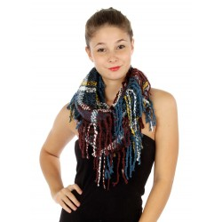 Long Fringe Plaid Infinity Scarf