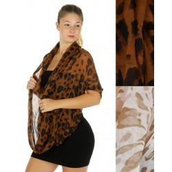 Sheer Leopard Print Infinity Scarf
