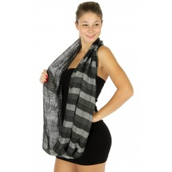Checkered Stripe Infinity Scarf