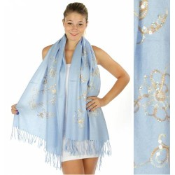 Knitted Flower Scarf w/ Round Sparkling Sequins