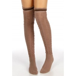 Ruffled Two Tone Thigh High Sock