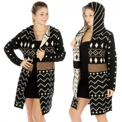 Hooded Knit Aztec Cardigan