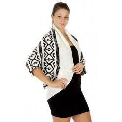 Solid Border Knit Tribal Cardigan