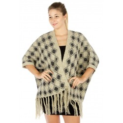 Ruana Style Knit Diamond Cardigan