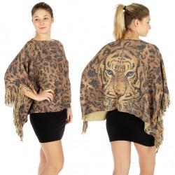 Lurex Tiger Knit Woven Poncho