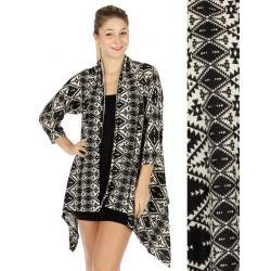 Abstract Geo Hi Low Cardigan