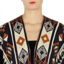 Aztec Tasseled Knit Ruana