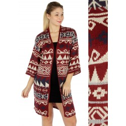 Abstract Pattern Open Cardigan