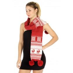 Knit Reindeer Pom Pom Scarf