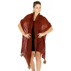 Oversized Knit Faux Fur PomPom Scarf
