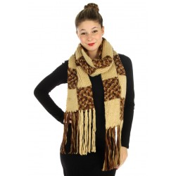 Mable Color Block Long Knit Scarf